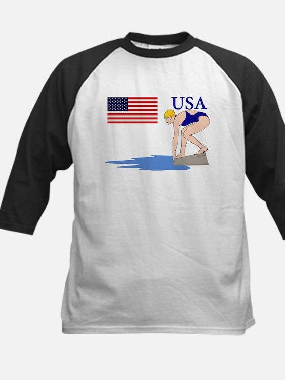 USA Swimming Kids Baseball Jersey