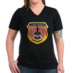 USS DRUM Women's V-Neck Dark T-Shirt