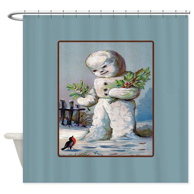 Snowman Mistleoe Christmas Shower Curtain by rebeccakorpita