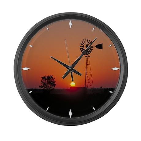 Large Wall Clock Kansas Sunset