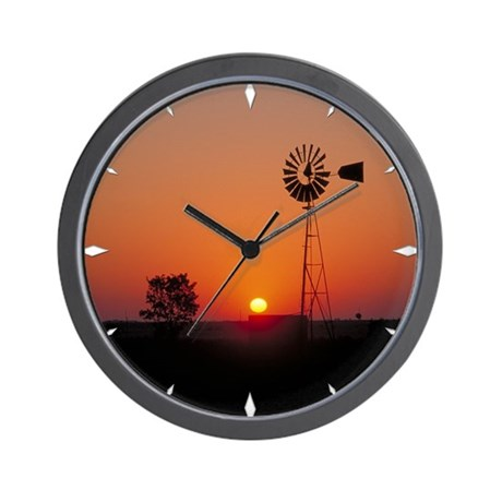 Wall Clock Kansas Sunset