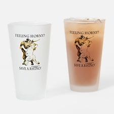 Feeling Horny? Save a Rhino! Drinking Glass