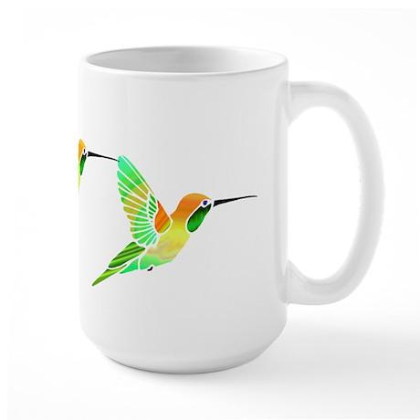 Trio of Lemon Lime Sorbet Hummingbirds Large Mug