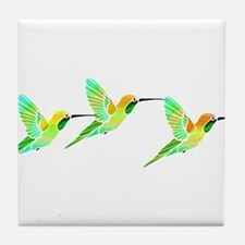 Trio of Lemon Lime Sorbet Hummingbirds Tile Coaste