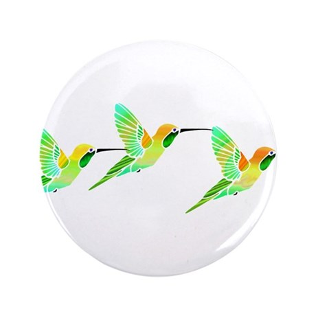 "Trio of Lemon Lime Sorbet Hummingbirds 3.5"" Button"