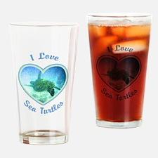I Love Sea Turtles Drinking Glass