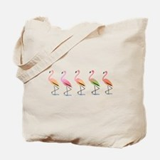 March of the Tropical Flamingos Tote Bag