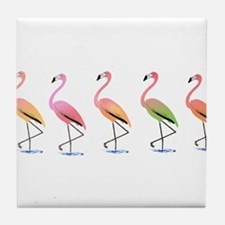 March of the Tropical Flamingos Tile Coaster