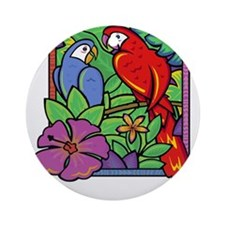 Parrot and Macaw in the Jungle Ornament (Round)