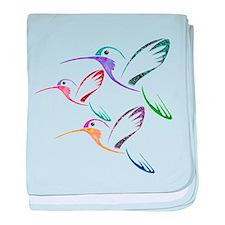 Patchwork Trio of Hummingbirds baby blanket