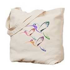 Patchwork Trio of Hummingbirds Tote Bag