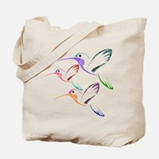 Patchwork Trio of Hummingbirds Tote Bag