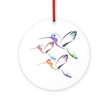 Patchwork Trio of Hummingbirds Ornament (Round)