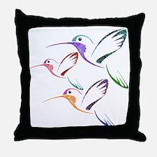 Patchwork Trio of Hummingbirds Throw Pillow