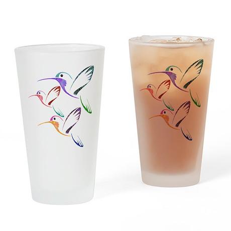 Patchwork Trio of Hummingbirds Drinking Glass