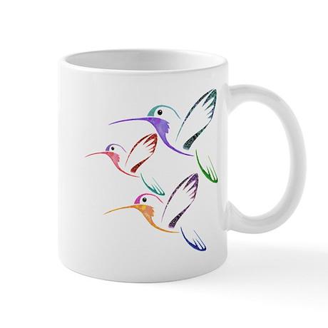 Patchwork Trio of Hummingbirds Mug