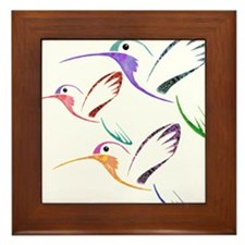 Patchwork Trio of Hummingbirds Framed Tile
