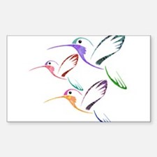 Patchwork Trio of Hummingbirds Sticker (Rectangle)