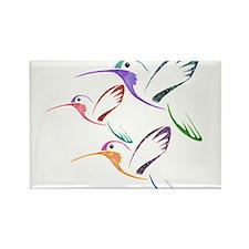 Patchwork Trio of Hummingbirds Rectangle Magnet
