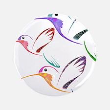 "Patchwork Trio of Hummingbirds 3.5"" Button"