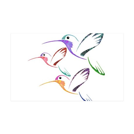 Patchwork Trio of Hummingbirds 35x21 Wall Decal