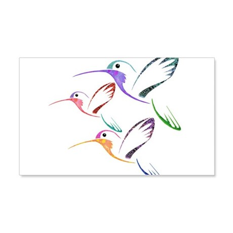 Patchwork Trio of Hummingbirds 20x12 Wall Decal