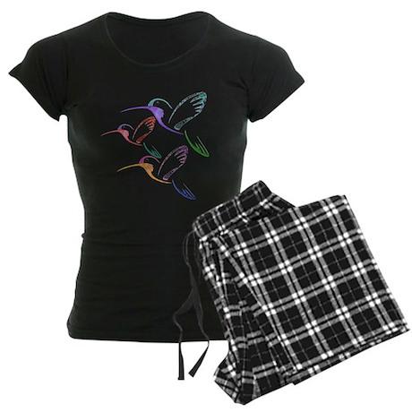 Patchwork Trio of Hummingbirds Women's Dark Pajama