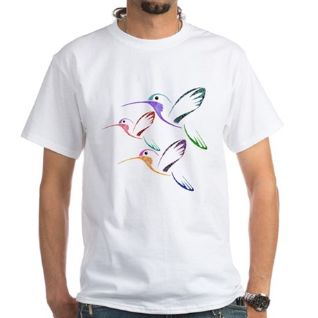 Patchwork Trio of Hummingbirds White T-Shirt