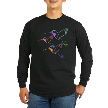 Patchwork Trio of Hummingbirds Long Sleeve Dark T-