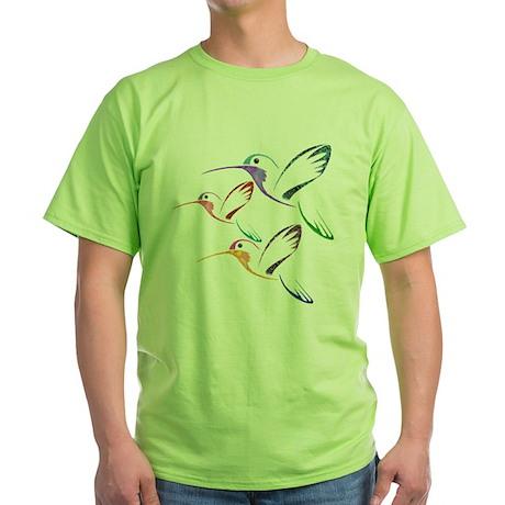 Patchwork Trio of Hummingbirds Green T-Shirt