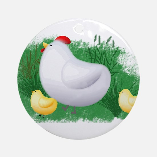 Momma Hen and Chicks Ornament (Round)