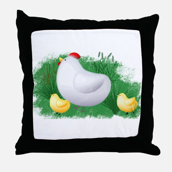 Momma Hen and Chicks Throw Pillow