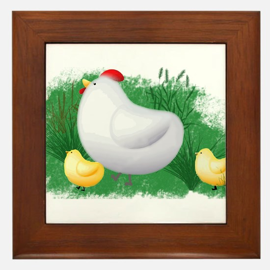 Momma Hen and Chicks Framed Tile