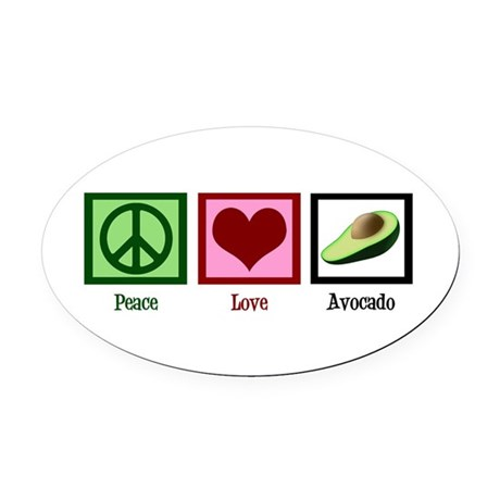 Peace Love Avocado Oval Car Magnet