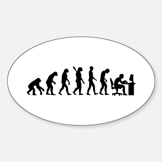 Computer office evolution Sticker (Oval)