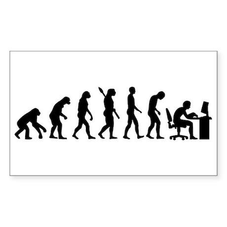 Computer office evolution Sticker (Rectangle)