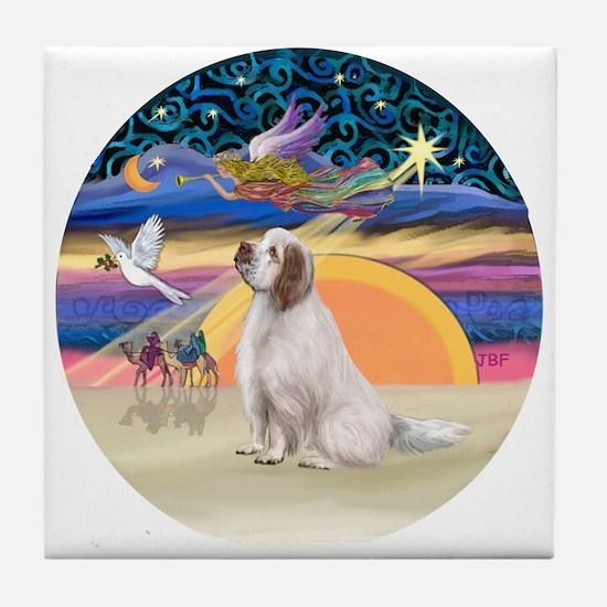 XmasAngel-ClumberSpaniel Tile Coaster