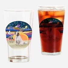 XmasAngel-ClumberSpaniel Drinking Glass