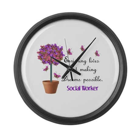 Social worker butterfly tree.PNG Large Wall Clock