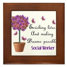 Social worker butterfly tree.PNG Framed Tile
