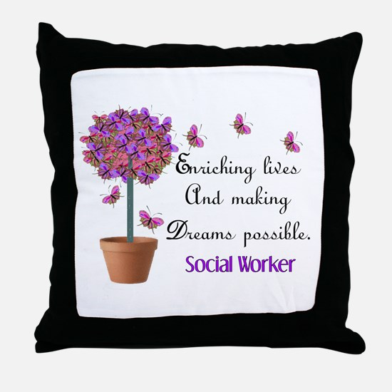 Social worker butterfly tree.PNG Throw Pillow