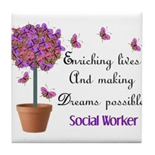 Social worker butterfly tree.PNG Tile Coaster