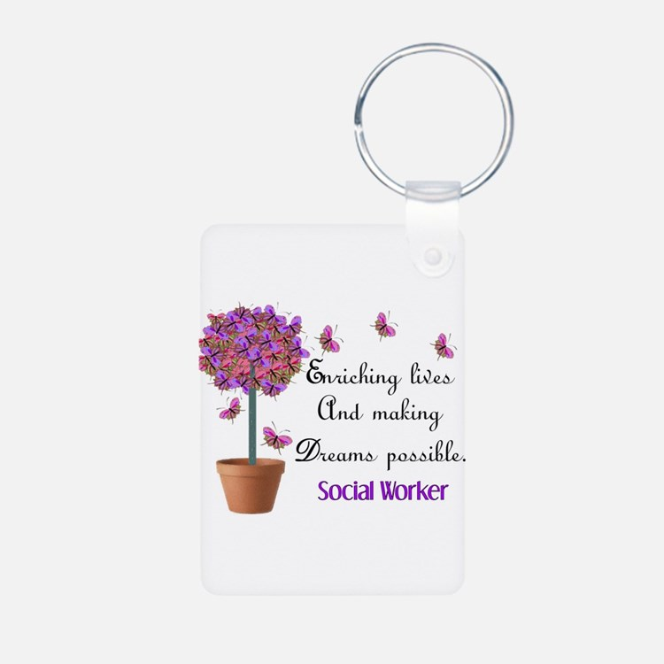 Social worker butterfly tree.PNG Keychains
