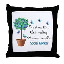 Social worker Butterfly Quote.PNG Throw Pillow