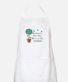 Social worker Butterfly Quote.PNG Apron