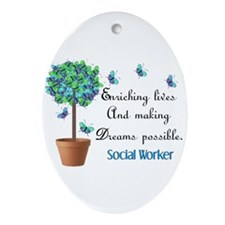 Social worker Butterfly Quote.PNG Ornament (Oval)