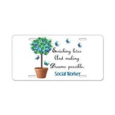Social worker Butterfly Quote.PNG Aluminum License