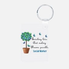 Social worker Butterfly Quote.PNG Keychains