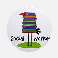 Social Worker Bird Books.PNG Ornament (Round)