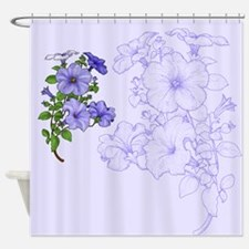 Blue Morning Glories Shower Curtain